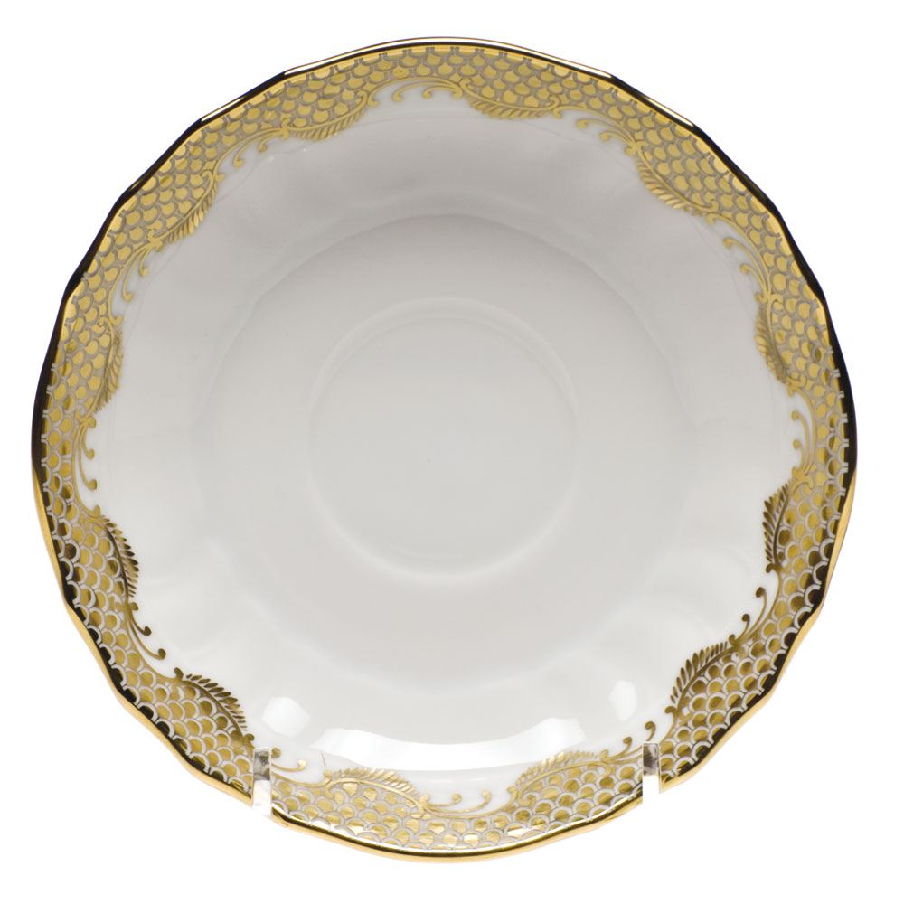 Herend Fish Scale Canton Gold Saucer