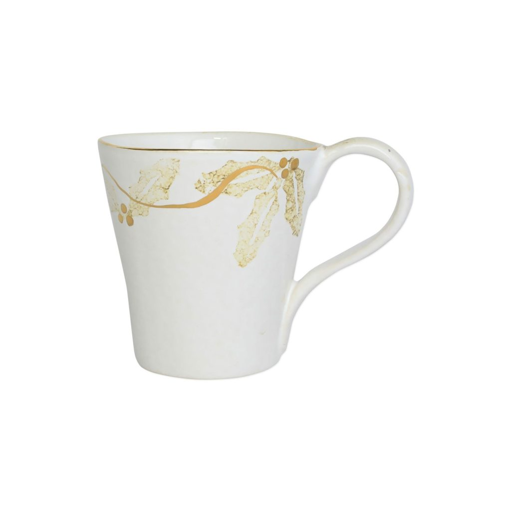 Vietri Perla Natale Holly Mug