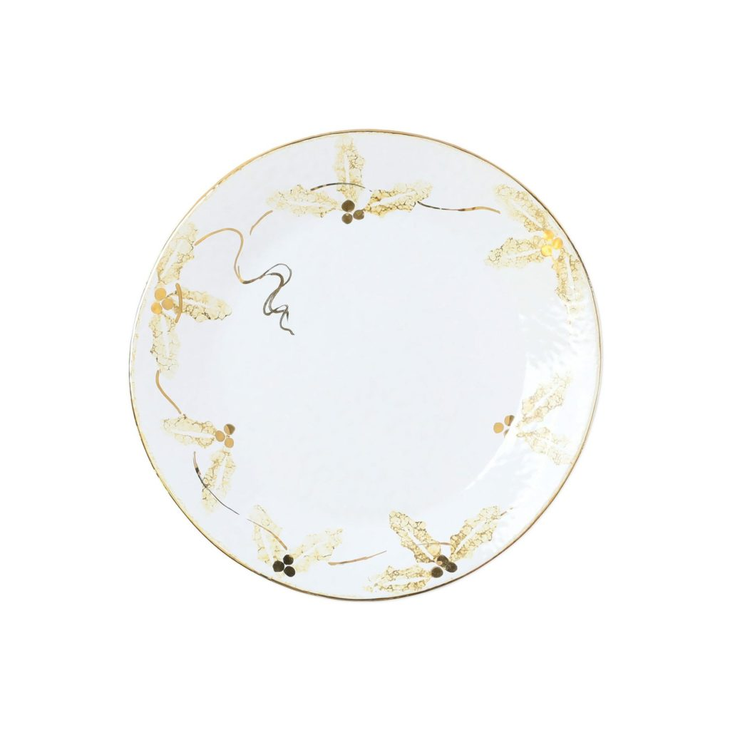 Vietri Perla Natale Holly Salad Plate