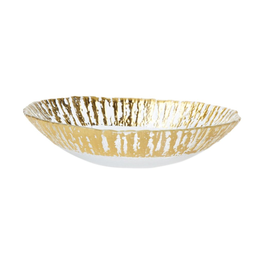 Vietri Rufolo Glass Gold Med Oval Serving Bowl