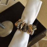 Joseph Williams Gold and Silver Nugget Napkin Rings